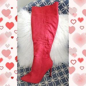 Fashion Nova Shoes - Fashion Nova red stiletto boots sz 9